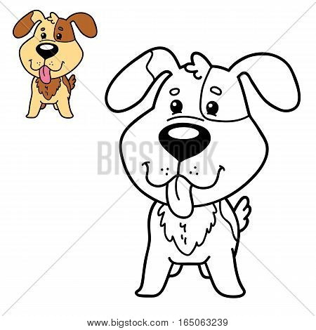 Vector illustration coloring page of happy cartoon dog for children, coloring and scrap book