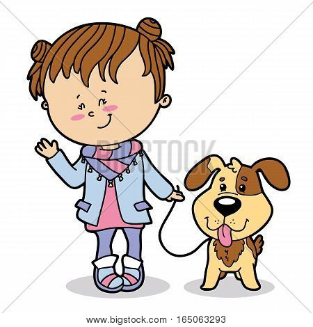 Vector illustration of cute cartoon girl and dog character for children and scrap book