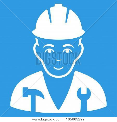 Serviceman vector icon. Flat white symbol. Pictogram is isolated on a blue background. Designed for web and software interfaces.