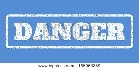 White rubber seal stamp with Danger text. Vector caption inside rounded rectangular frame. Grunge design and dirty texture for watermark labels. Horisontal sticker on a blue background.