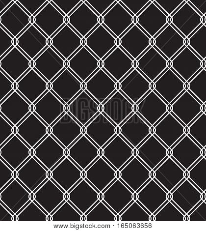 Steel wired fence seamless texture overlay. Metallic wire mesh isolated on black background. Stylized vector pattern.