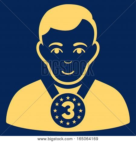 3rd Prizer Sportsman vector icon. Flat yellow symbol. Pictogram is isolated on a blue background. Designed for web and software interfaces.