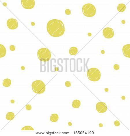 Seamless pattern with gold painted dots hand drawn by marker. Polka dot styled repeating texture. Original background for prints, textile, wallpapers and wrapping design. Vector eps8 illustration.