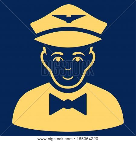 Airline Steward vector icon. Flat yellow symbol. Pictogram is isolated on a blue background. Designed for web and software interfaces.