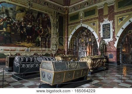ROSKILDE, DENMARK - JUNE 29, 2016: This is the interior of the royal tombs in the chapel of Christian IV.