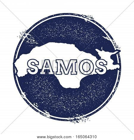 Samos Vector Map. Grunge Rubber Stamp With The Name And Map Of Island, Vector Illustration. Can Be U