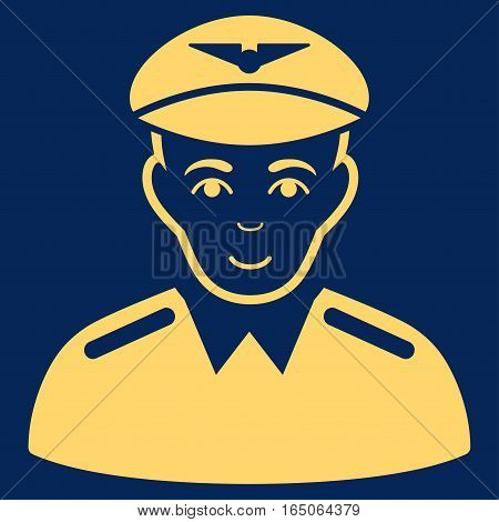 Aviator vector icon. Flat yellow symbol. Pictogram is isolated on a blue background. Designed for web and software interfaces.