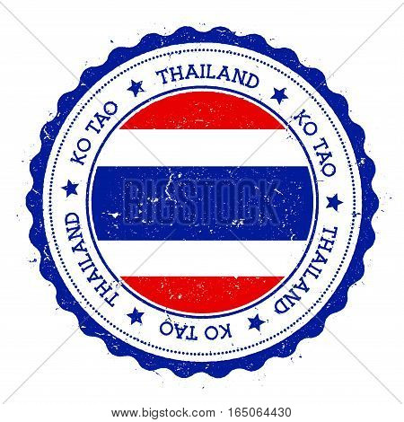 Ko Tao Flag Badge. Vintage Travel Stamp With Circular Text, Stars And Island Flag Inside It. Vector