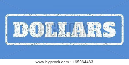 White rubber seal stamp with Dollars text. Vector tag inside rounded rectangular frame. Grunge design and scratched texture for watermark labels. Horisontal sticker on a blue background.
