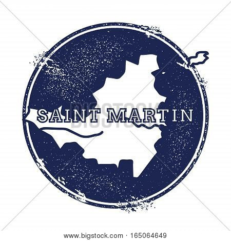Saint Martin Vector Map. Grunge Rubber Stamp With The Name And Map Of Island, Vector Illustration. C