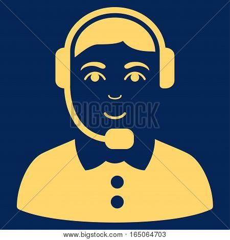 Call Center Operator vector icon. Flat yellow symbol. Pictogram is isolated on a blue background. Designed for web and software interfaces.