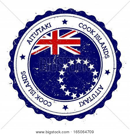 Aitutaki Flag Badge. Vintage Travel Stamp With Circular Text, Stars And Island Flag Inside It. Vecto