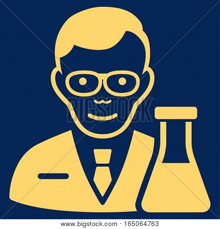 Chemist vector icon. Flat yellow symbol. Pictogram is isolated on a blue background. Designed for web and software interfaces.