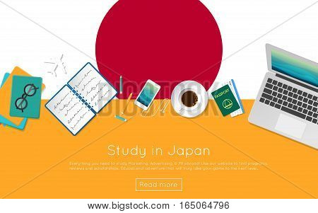 Study In Japan Concept For Your Web Banner Or Print Materials. Top View Of A Laptop, Books And Coffe
