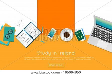 Study In Ireland Concept For Your Web Banner Or Print Materials. Top View Of A Laptop, Books And Cof
