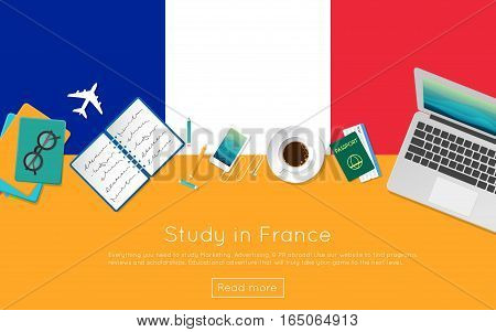 Study In France Concept For Your Web Banner Or Print Materials. Top View Of A Laptop, Books And Coff