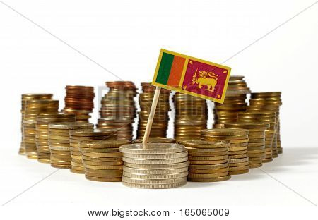 Sri Lanka Flag Waving With Stack Of Money Coins