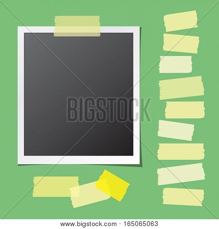 Realistic photo card fixed on green background and collection of sticky tape pieces. Paper frame template with blank space for your image. Detailed vector eps10 illustration with transparency.