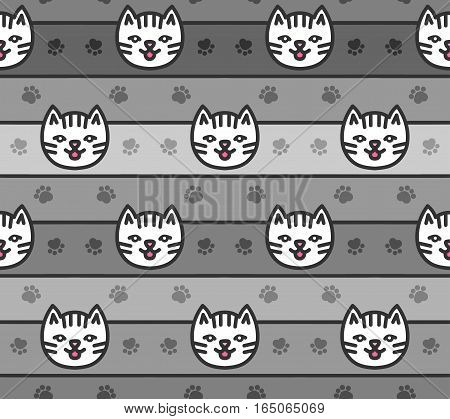 Seamless pattern of cats heads on striped background