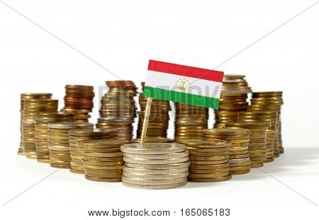 Tajikistan Flag Waving With Stack Of Money Coins