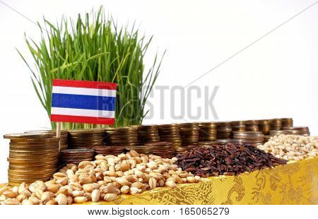 Thailand Flag Waving With Stack Of Money Coins And Piles Of Wheat And Rice Seeds