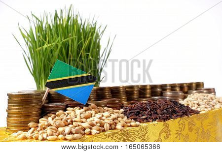 Tanzania Flag Waving With Stack Of Money Coins And Piles Of Wheat And Rice Seeds