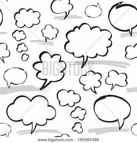 Seamless pattern with speech bubbles and thought clouds. Black and white colors. Hand drawn by felt pen vector repeating background.