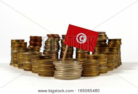 Tunisia Flag Waving With Stack Of Money Coins