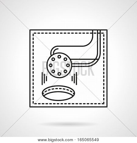 Symbol of scoring in golf game. Club putting ball into hole. Golfing concept. Sports individual and team outdoor tournament. Flat black line vector icon.