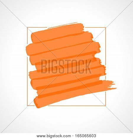 Hand drawn orange highlighter stripes. Marker strokes background template. Optimized for one click color changes. Transparent colors EPS10 vector illustration.