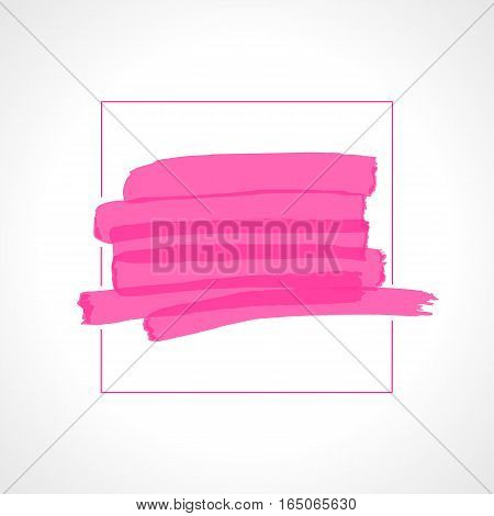 Hand drawn pink highlighter stripes. Marker strokes background template. Optimized for one click color changes. Transparent colors EPS10 vector illustration.