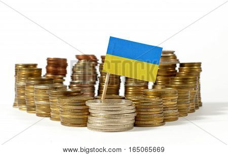 Ukraine Flag Waving With Stack Of Money Coins