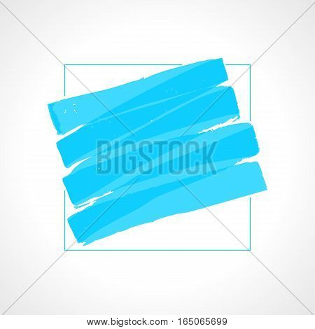 Hand drawn blue highlighter stripes. Marker strokes background template. Optimized for one click color changes. Transparent colors EPS10 vector illustration.