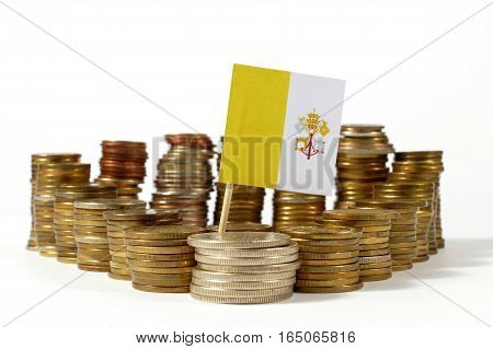 Vatican City Flag Waving With Stack Of Money Coins