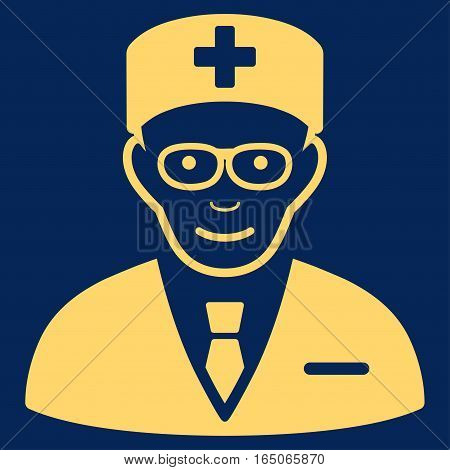 Head Physician vector icon. Flat yellow symbol. Pictogram is isolated on a blue background. Designed for web and software interfaces.