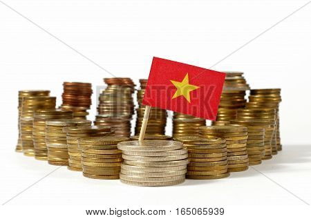 Vietnam Flag Waving With Stack Of Money Coins