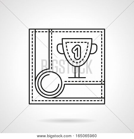 Sport success symbol. Trophy for 1st place in billiards game, tournament or championship. Winning concept. Pool table corner with winner cup. Flat black line vector icon.