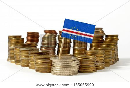 Cape Verde Flag Waving With Stack Of Money Coins