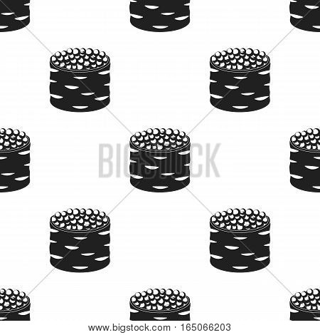 Ikura gunkan-maki icon in  black style isolated on white background. Sushi pattern vector illustration. - stock vector