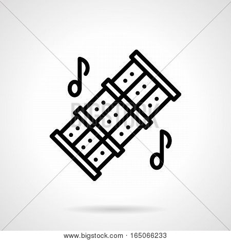 Symbol of triple reed pipes with holes and two notes. Tune of woodwind musical instruments. Ethnic music lessons. Single black simple line design vector icon.