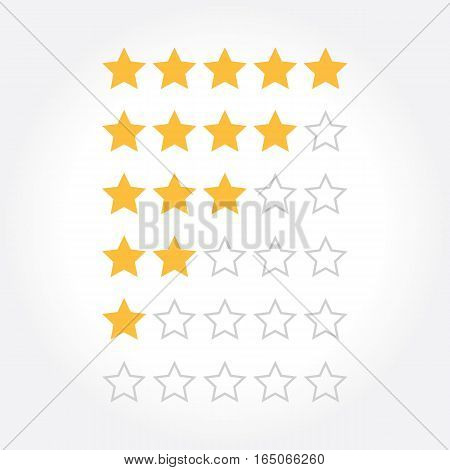Stars rating design elements. Kit of star shapes for ranking interface. Set of voting symbols from zero to five points. Vector illustration in flat style.