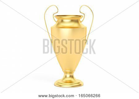 Gold trophy cup award 3D rendering isolated on white background