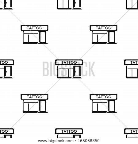 Tattoo salon building parlor icon black. Single tattoo icon from the big studio black. - stock vector