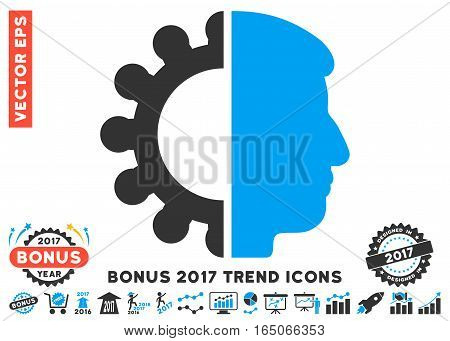 Blue And Gray Android Head icon with bonus 2017 year trend design elements. Vector illustration style is flat iconic bicolor symbols white background.
