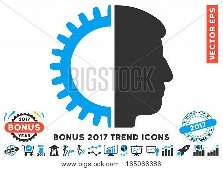 Blue And Gray Android Head pictograph with bonus 2017 year trend symbols. Vector illustration style is flat iconic bicolor symbols white background.