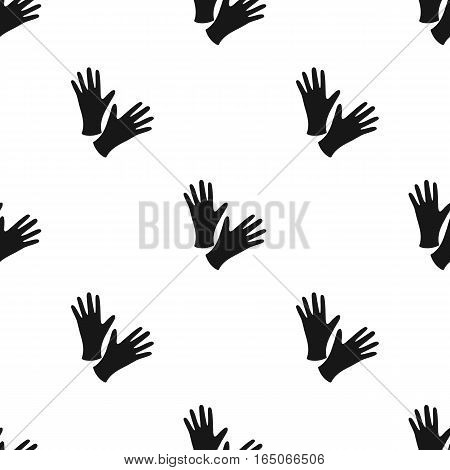 Black protective rubber gloves icon black. Single tattoo icon from the big studio black. - stock vector