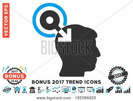 Blue And Gray Brain Interface Plug-In icon with bonus 2017 year trend images. Vector illustration style is flat iconic bicolor symbols white background.