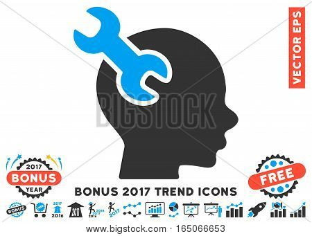 Blue And Gray Brain Service Wrench icon with bonus 2017 trend design elements. Vector illustration style is flat iconic bicolor symbols white background.