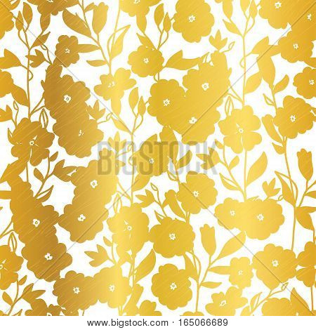 Vector Golden Blossom Flowers Summer Seamless Pattern Background. Great for elegant gold texture fabric, cards, wedding invitations, wallpaper. Surface pattern design.