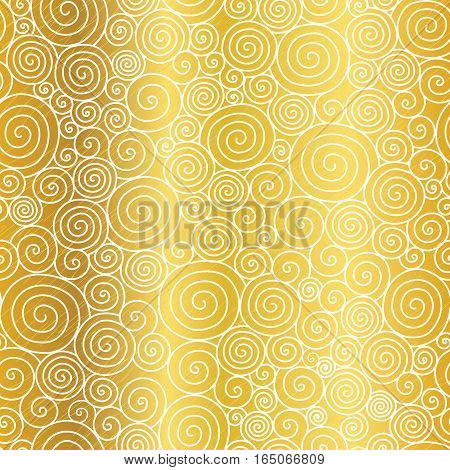 Vector Golden Abstract Swirls Seamless Pattern Background. Great for elegant gold texture fabric, cards, wedding invitations, wallpaper. Surface pattern design.